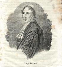 Stampa antica LUIGI GERARDI avvocato giurista Lonato 1841 Old antique print
