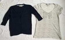 Crew CLOTHING Co T-shirt Top & Cardigan Floreale Bianco Blu Navy UK 8