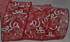Wired Ribbon~Sheer~Valentine Red~Heart~Flower Vine~White~Wreath~Gift~Cr aft~Bow