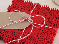 SHABBY CHIC RED SET X4 FELT COASTERS CUPS GLASS TABLE CHRISTMAS   DECOR VINTAGE