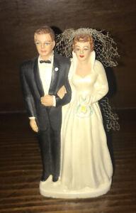 Vtg Cake Topper 1952 Coast Novelty Bride Groom Wedding Chalk