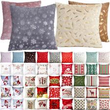 "Christmas Snowflake Print Sofa Pillow Case Xmas Party Decor 18x18"" Cushion Cover"