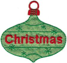 Green Christmas Tree Bulb Ornament Holiday Embroidery Patch
