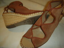 94e6443584d2 Franco Sarto Nash Perforated Suede Espadrilles Wedge Sandals Womens 10 M  Brown
