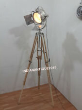 Classical Nautical Spot Search Light Floor Lamp Tripod Teak Wood Stand