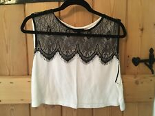 TOPSHOP women's size 14 white and black lace cropped top