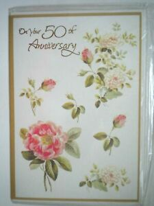 "WILD ROSES ""ON YOUR 50th ANNIVERSARY"" GREETING CARD + WHITE ENVELOPE"