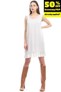 TWIN-SET SIMONA BARBIERI Crepe Short Tunic Dress Size L Ruffle Made in Italy