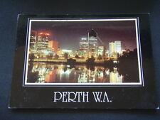 PERTH WA BY NIGHT 1990 POSTCARD