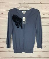 Loft Women's S Small Blue Gray Floral Button Soft Sweater Cardigan New With Tags