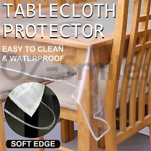 PVC Transparent Clear 4 Sizes Round Rectangle Tablecloth Plastic Protector Cover