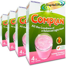 4x Complan Strawberry Nutrition Vitamin Supplement Protein Energy Drink 4x55g