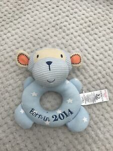 NEXT BLUE CHEEKY MONKEY BORN IN 2014 BABY RING RATTLE SOFT PLUSH TOY