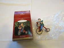 Hallmark Keepsake Biking buddies 3 wheel bike dog basket Christmas Ornament RARE