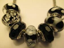 7 Pandora Silver 925 Ale Black Shimmer Disney Mickey Flower Swirl Beads Charms