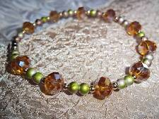 7 3/4 Inch Brown Crystal & Green Glass Bead Bracelet by Quality Jewelry N-31