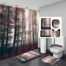 Nature Red Forest Shower Curtain Bath Mat Toilet Cover Rug Home Bathroom Decor