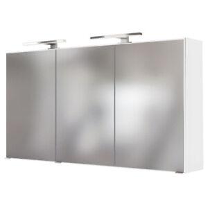 Spiegelschrank 120cm mit 2 LED-Leuchten Badezimmer-Spiegel in weiß Badspiegel