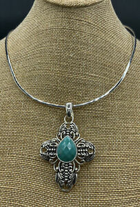 Barse Jubilee Cross Enhancer Necklace- Turquoise- Silver Overlay- NWT