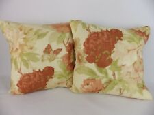 Terracotta Brick Autumn Butterfly Floral Linen Fabric Cushion Covers