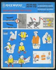OLYMPIC Airlines SAFETY CARD ATR 42 72 airline brochure memorabilia ee e612