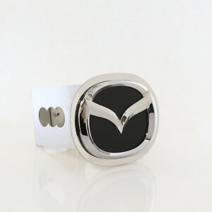 Mazda New Logo Black Fill Logo Chrome Tow Trailer Hitch Cover Plug