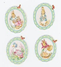 4 BEATRIX POTTER PETER RABBIT IRON ON HAND CUT FROM LICESNED FABRIC APPLIQUE