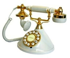Old Vintage Retro Nostalgia Telephone Antique Corded Phone White/Gold NEW