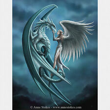 Silver Back Anne Stokes Wall Plaque Gothic Dragon Angel Fantasy Art Canvas