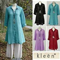 KLEEN Linen Gauze A-Line  X-LONG BIG SHIRT  Top Tunic XS S M L XL 2016 COLORS