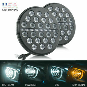 7-Inch 80W LED Headlight Hi/Low Beam Flow Turn Signal DRL Lamp for Jeep Wrangler