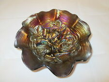 Northwood Rose Show Purple Amethyst Carnival Glass Bowl Ruffled Rim 8-1/2""