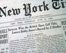 GENE SARAZEN Wins British Open Major Title GOLF Championship 1932 Old Newspaper