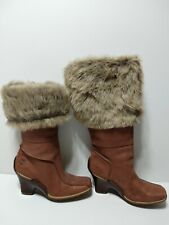 Womens SZ 8.5 M Timberland Brown Leather Pull Up Faux Fur Trim Knee High Boots