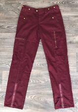 NEW Da Nang Women's Cotton Cargo Pants w/ Zipper Grape Burgundy