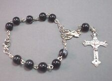 Pocket RosaryTravel Auto 1 Decade BLACK w GREY SWIRL Bead Silver Medal CLASSIC!