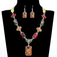 Women Vintage Retro Stone Silver Plated Amber African Wedding Jewellery Set