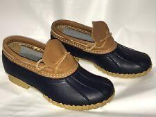 VTG LL BEAN Duck Boots Women 8M Blue Short Ankle Shoes Leather EUC 175067