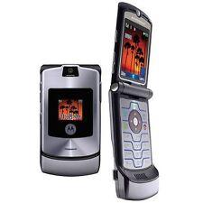 Motorola Razr V3 gris débloqué FLIP TÉLÉPHONE PORTABLE état neuf avec accessoires