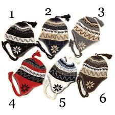 Winter Peruvian Ear Flap Ski Hat Lined Beanie Cap Snow Men's Pick Your Style BN6