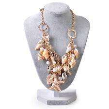 Ocean Sea Shell Starfish Faux Pearl Pendant Collar Choker Statement Bib Necklace