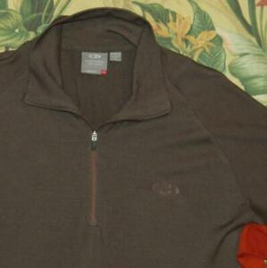 ICEBREAKER Body Fit 260 Brown Orange 1/4 Zip Merino Wool Pullover Shirt Slim XL
