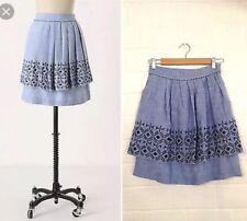 $98 Anthropogie Odille Womens 8 Blue Linen Cotton Embroidered Alpine Dream Skirt