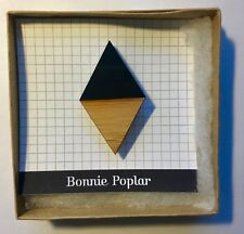 by Evi O. Bamboo and Acrylic New Bonnie Poplar geometric Brooch / Pin