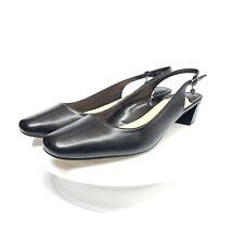 J. Renee Shoes 12 M Women Low Heel Sling Blandina Black Kidskin Low Stacked Heel