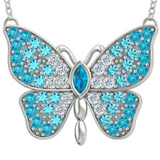 Sterling Silver Butterfly Necklace With Aquamarine and Cubic Zirconia Accents