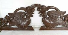 Pair Antique French Carved Oak Wood Crest Pediment Furniture Bird