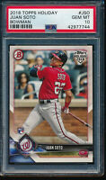 PSA 10 JUAN SOTO 2018 Topps Bowman Holiday #TH-JSO Nationals Rookie RC GEM MINT