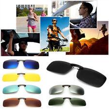 New Driving Polarized UV 400 Lens Clip-on Sunglasses Glasses Day Night Vision UK