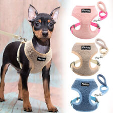 Soft Dog Harnesses with Lead set Small to Large Dogs Fleece Mesh Vest Blue Leash